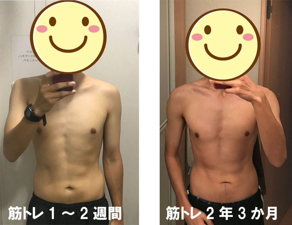 筋トレ開始後2週間と2年の比較